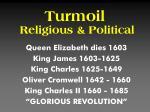 turmoil religious political