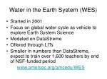 water in the earth system wes