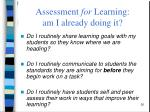 assessment for learning am i already doing it