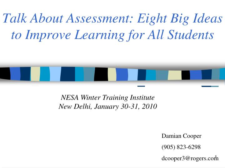 talk about assessment eight big ideas to improve learning for all students n.