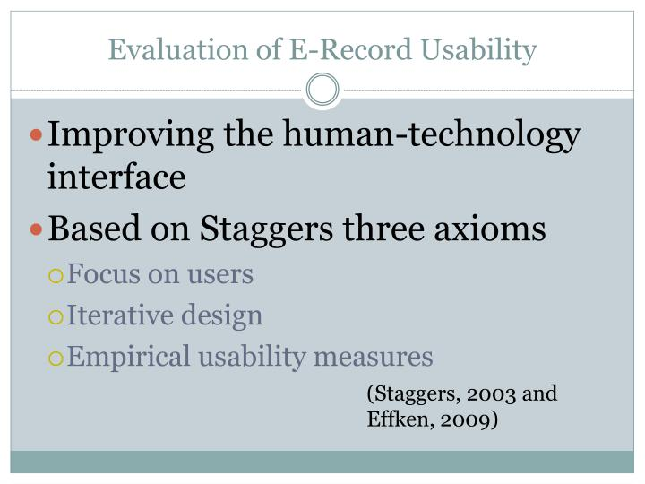 Evaluation of E-Record Usability