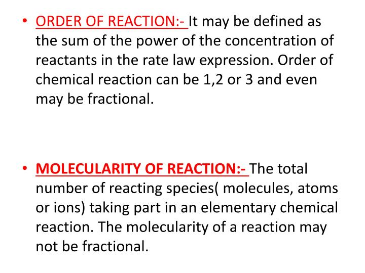 ORDER OF REACTION:-