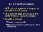 lpv specific issues