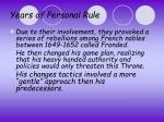 years of personal rule1