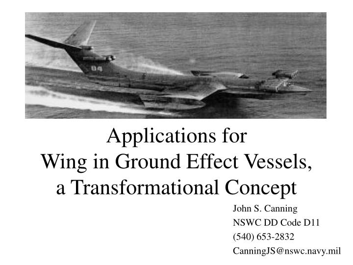 applications for wing in ground effect vessels a transformational concept n.