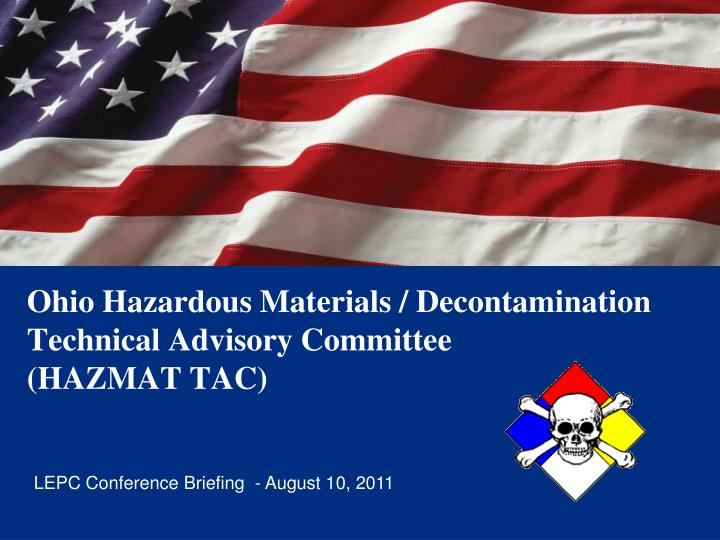 ohio hazardous materials decontamination technical advisory committee hazmat tac n.