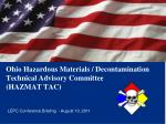 ohio hazardous materials decontamination technical advisory committee hazmat tac