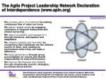 the agile project leadership network declaration of interdependence www apln org