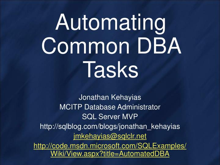 automating common dba tasks n.