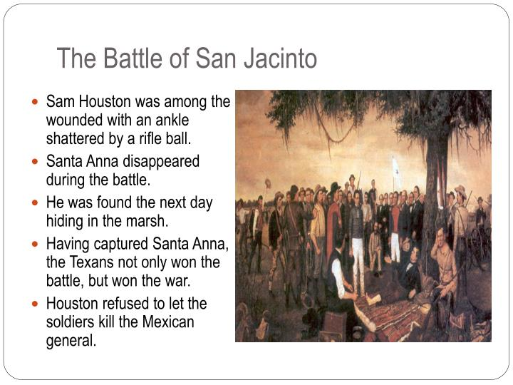 the battle of san jacinto essay Fought on april 21, 1836, the battle of san jacinto was the deciding engagement of the texas revolution as well as saw general santa anna captured.