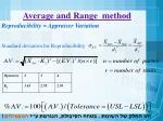 average and range method