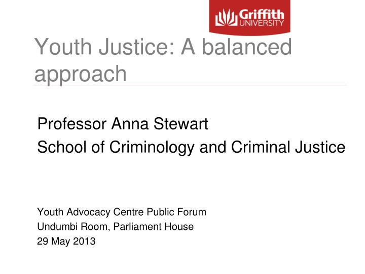 youth justice a balanced approach n.