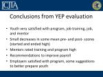 conclusions from yep evaluation