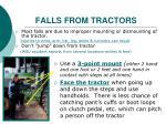 falls from tractors