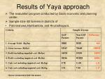 results of yaya approach