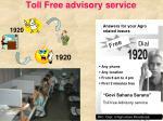 toll free advisory service