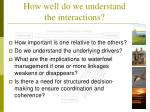 how well do we understand the interactions1