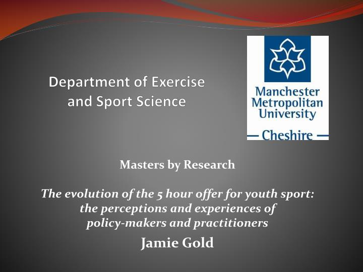 department of exercise and sport science n.