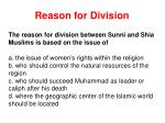 reason for division