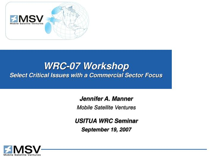 wrc 07 workshop select critical issues with a commercial sector focus n.