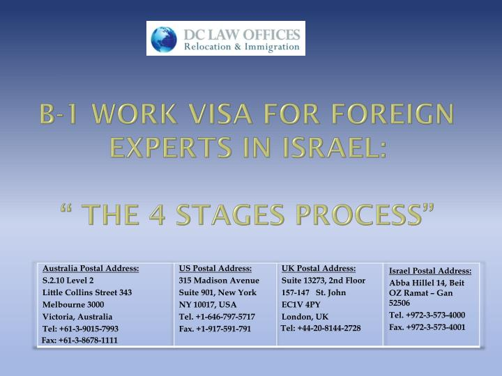 b 1 work visa for foreign experts in israel the 4 stages process n.