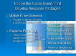update the future scenarios develop response packages