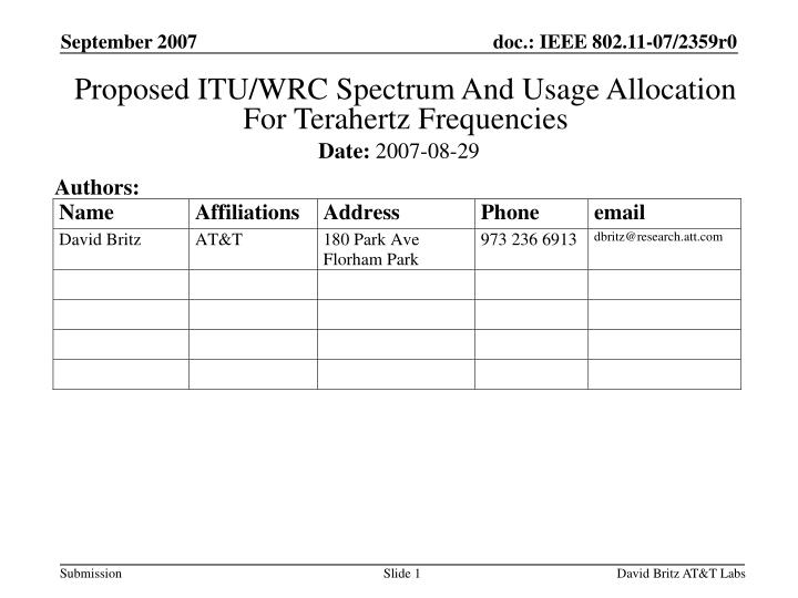proposed itu wrc spectrum and usage allocation for terahertz frequencies n.