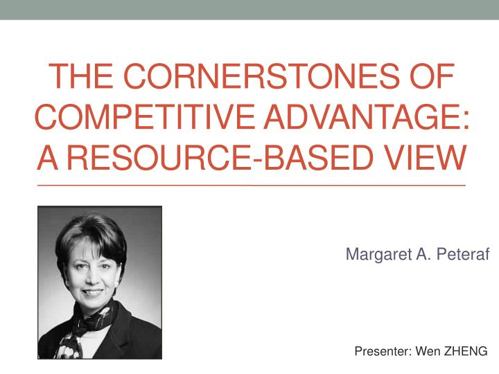 the cornerstones of competitive a dvantage a resource based view n.