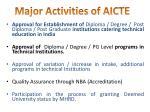 major activities of aicte