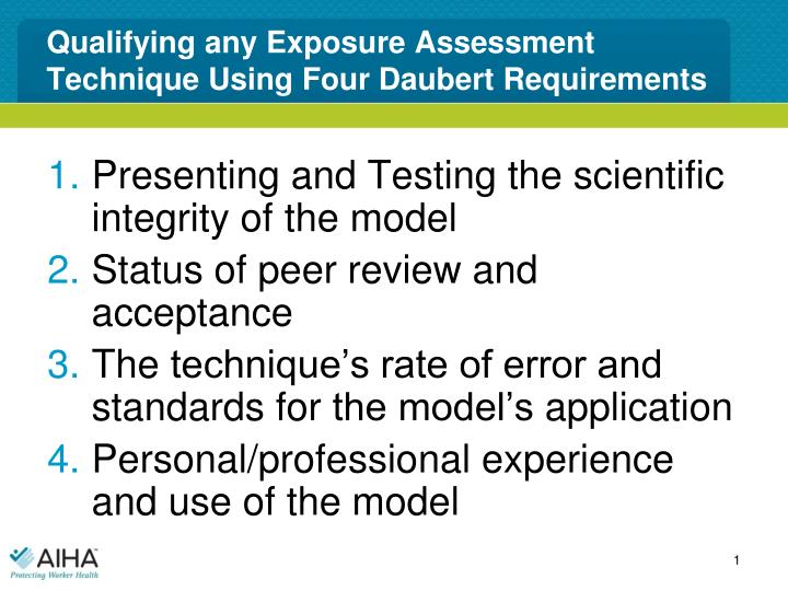 qualifying any exposure assessment technique using four daubert requirements n.