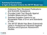 summary conclusions in light of daubert criteria the nf ff model has
