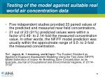 testing of the model against suitable real world air concentration data