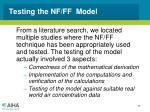 testing the nf ff model