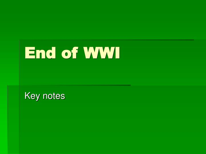 end of wwi n.