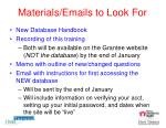 materials emails to look for