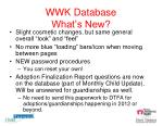 wwk database what s new