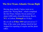 the first trans atlantic ocean flight