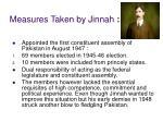 measures taken by jinnah
