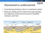 discovered vs undiscovered
