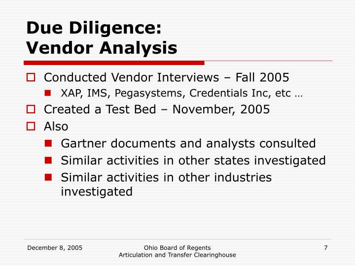 Due Diligence: