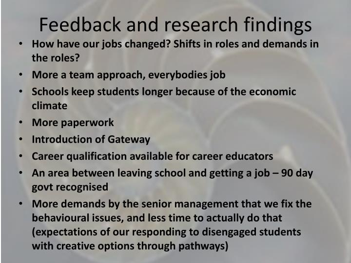 Feedback and research findings