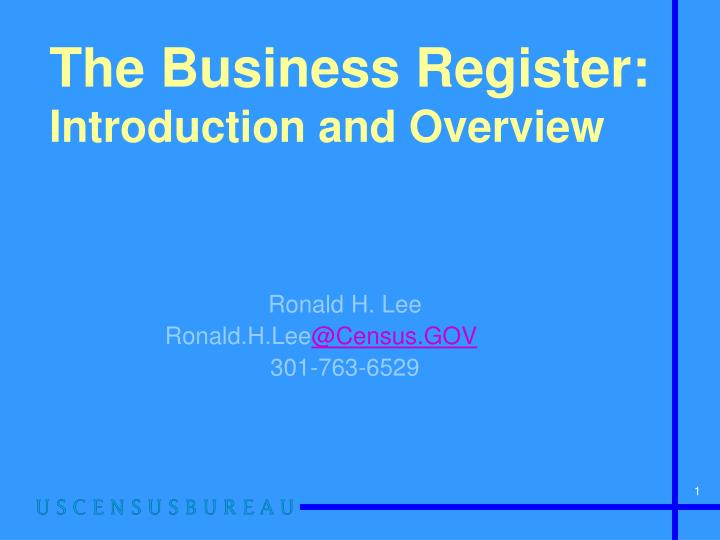 the business register introduction and overview n.