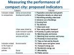 measuring the performance of compact city proposed indicators