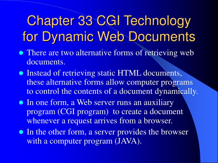 chapter 33 cgi technology for dynamic web documents n.