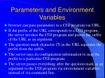 parameters and environment variables