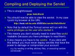 compiling and deploying the servlet