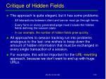 critique of hidden fields
