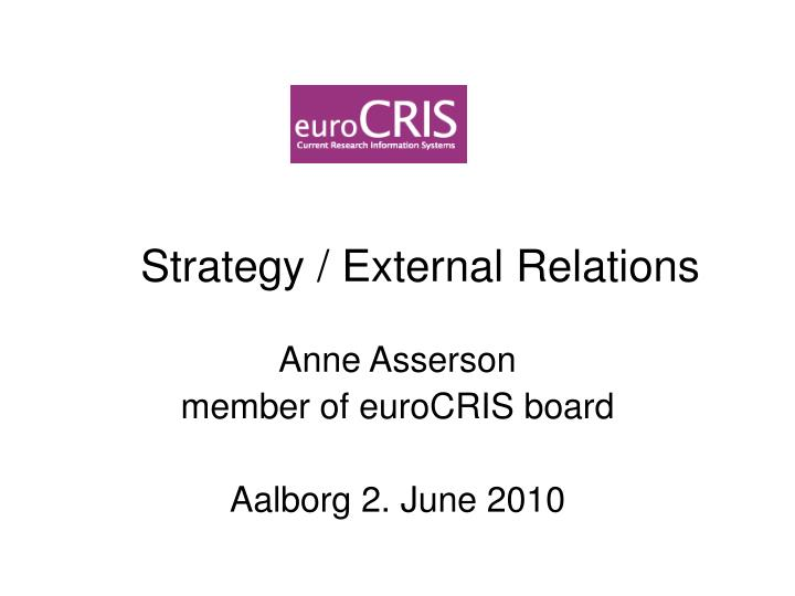 strategy external relations n.