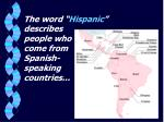 the word hispanic describes people who come from spanish speaking countries