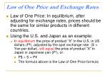 law of one price and exchange rates